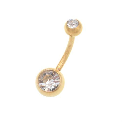 Double Clear CZ Gold Belly Button Rings - TSZjewelry