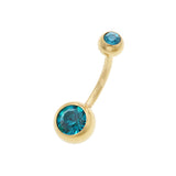 Double Aqua CZ Gold Belly Button Rings - TSZjewelry