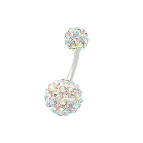 Double Rainbow Crystal Ball Classic Belly Rings - TSZjewelry
