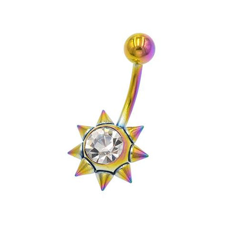 Rainbow CZ Gold Sun Shape Belly Button Rings - TSZjewelry