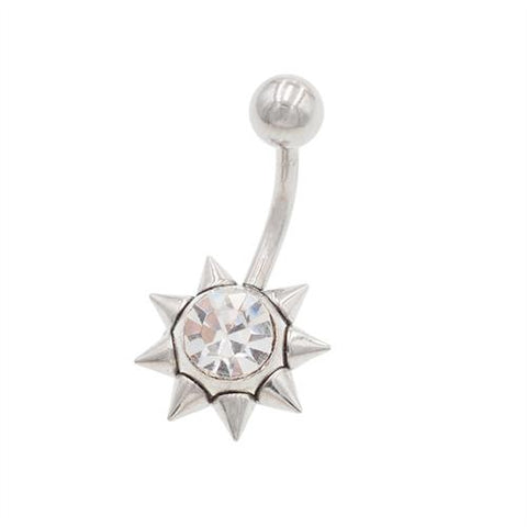 Crystal CZ Stainless Steel Sun Belly Button Rings - TSZjewelry