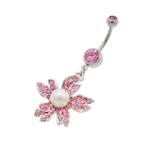 Pink Pearl Sunflower Belly Button Rings