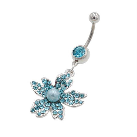 Aqua Gemstone Sunflower with Pearl Belly Ring - TSZjewelry