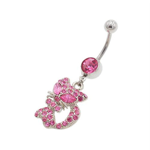 Pink Lovely Cat Belly Button Rings - TSZjewelry