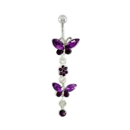Purple Twins Butterfly Belly Button Rings