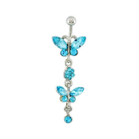 Aqua Twins Butterfly Belly Button Rings - TSZjewelry
