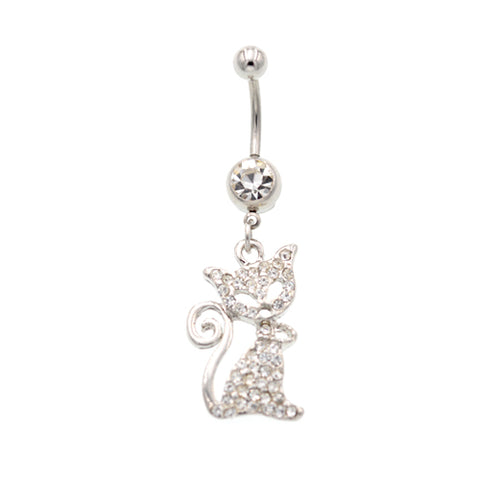 Crystaline Cat Belly Button Rings - TSZjewelry