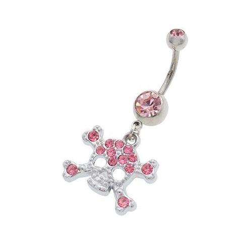 Pink Skull Belly Button Rings - TSZjewelry