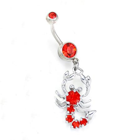 Red Scorpion Belly Button Rings
