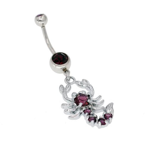 Purple Scorpion Belly Button Rings
