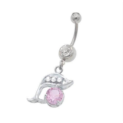Pink Gem Dolphin Dangling Belly Button Rings - TSZjewelry