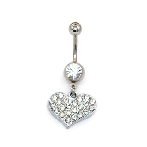 Crystaline Heart Belly Button Rings - TSZjewelry