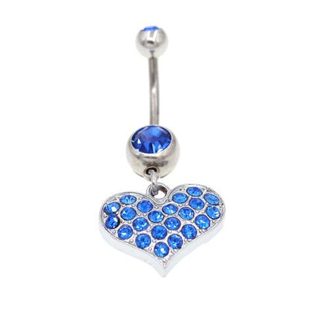 Blue Heart Belly Button Rings