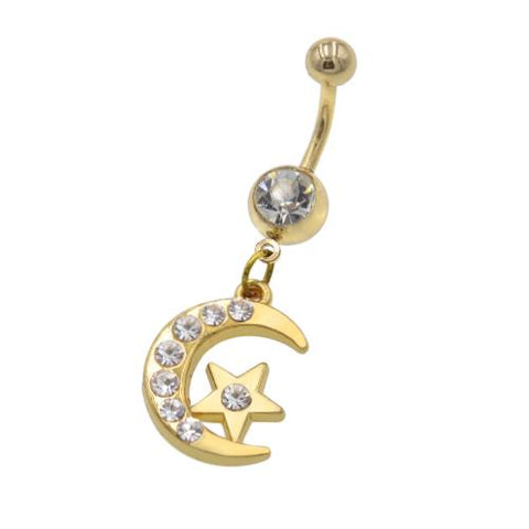 Gold Star Moon Belly Button Rings - TSZjewelry