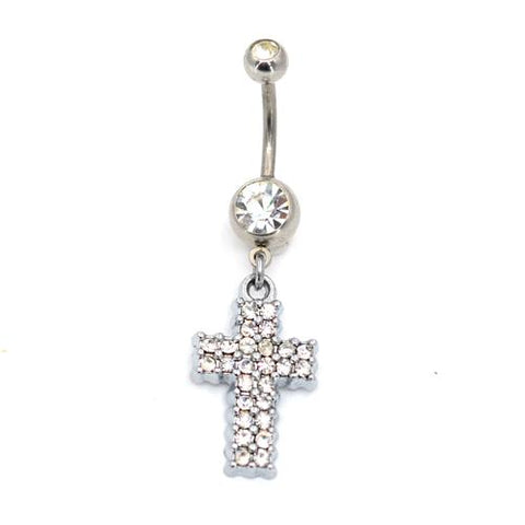 Crystaline Cross Belly Button Rings - TSZjewelry