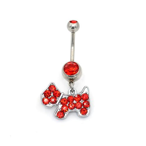 Crystaline Puppy Dog Belly Button Rings
