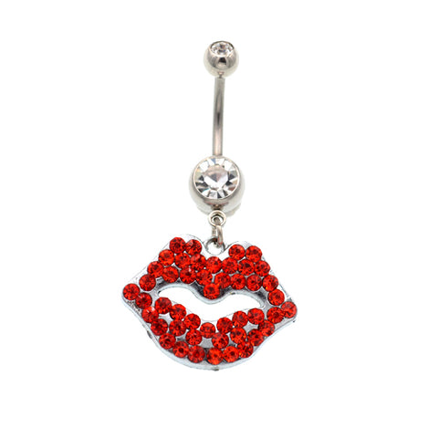 Red Gem Big Mouth Belly Button Rings