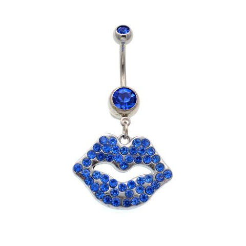Blue Gem Big Mouth Belly Button Rings - TSZjewelry