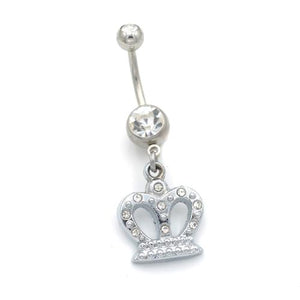 Queen Crown Dangling Belly Button Rings - TSZjewelry