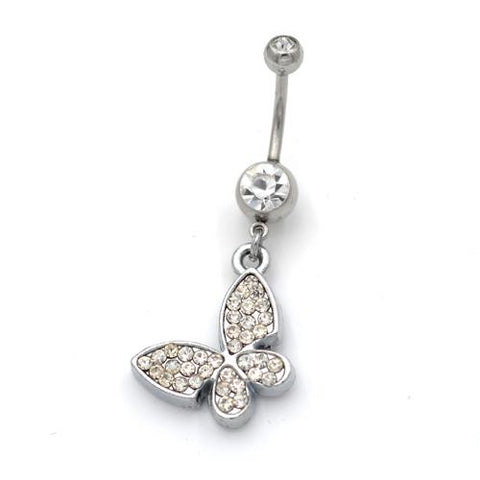 Dangling Clear Gem Butterfly Belly Button Rings