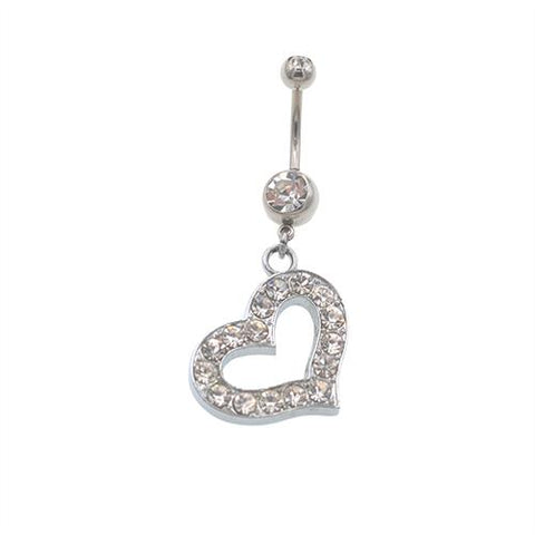 Clear Gem Hollow Heart Dangling Belly Button Rings