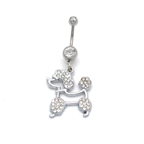 Clear Gem Hollow Puppy Dog Belly Rings - TSZjewelry