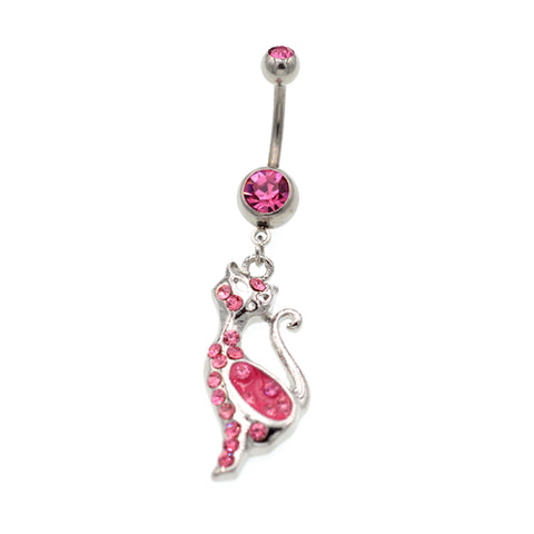 Pink Gem Cat Dangling Belly Button Rings