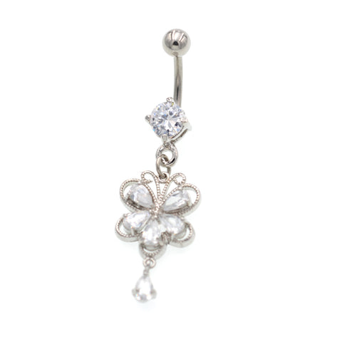 Clear Gem Butterfly Dangling Belly Button Rings - TSZjewelry