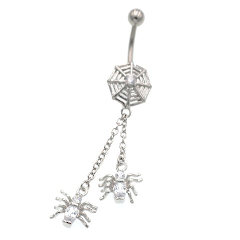 Crystal Twin Spider With Cobweb Belly Button Rings - TSZjewelry
