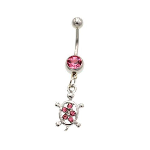 Pink Tortoise Dangled Belly Button Rings