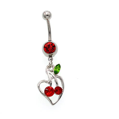 Red Gem Cheery Heart Belly Button Rings