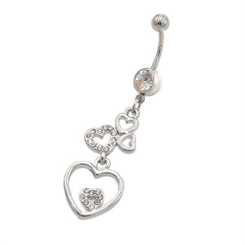 Clear Gem Heart Series Belly Button Rings - TSZjewelry