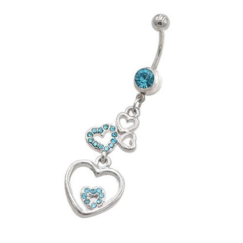 Aqua Gem Heart Series Belly Button Rings - TSZjewelry