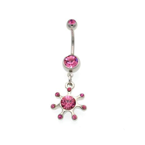 Pink Gem Rising Sun Belly Button Rings