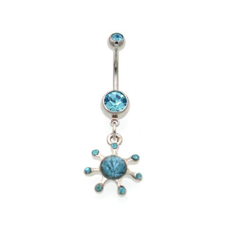 Aqua Gem Rising Sun Belly Button Rings - TSZjewelry