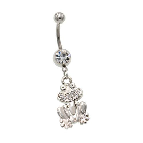Clear Gem Frog Belly Button Rings - TSZjewelry