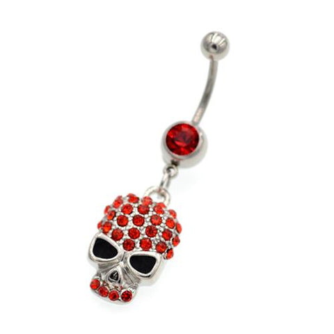 Red Gem Sunglass Skull Belly Button Rings