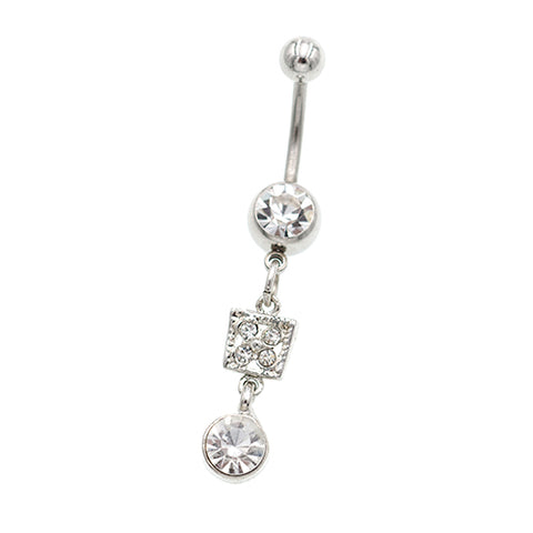 Dangling Square Round Belly Button Rings - TSZjewelry