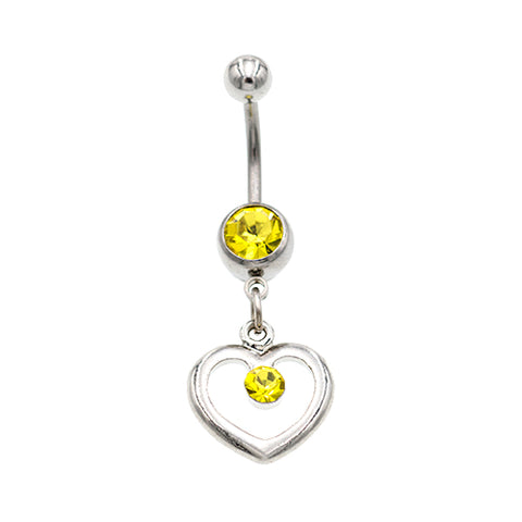 Yellow Gem Hollow Heart Belly Button Rings - TSZjewelry