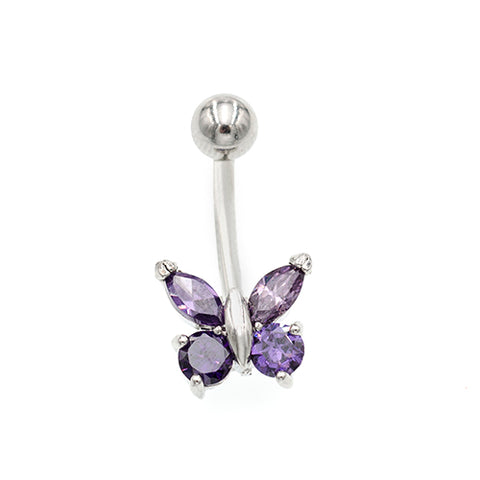Purple Gem Non Dangling Butterfly Belly Rings - TSZjewelry