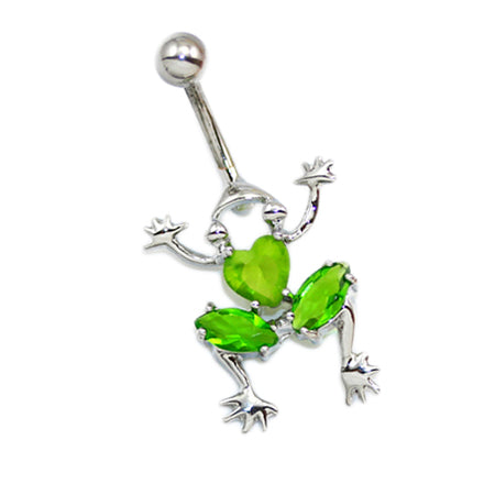 Jade Green Non Dangling Frog Belly Rings