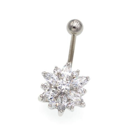 Clear Gem Non Dangling Sunflower Belly Rings - TSZjewelry