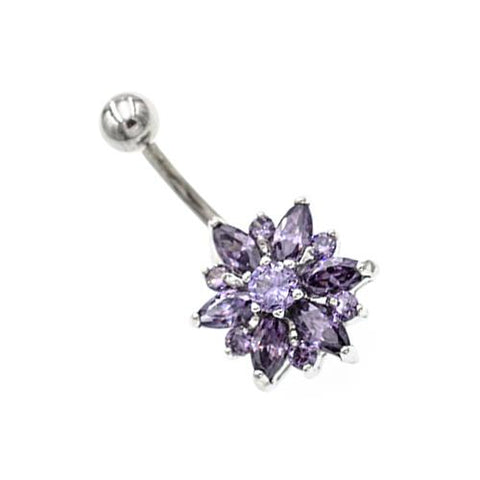 Purple Gem Non Dangling Sunflower Belly Rings - TSZjewelry