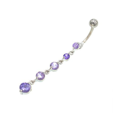 Purple Gem Cz Descending Drop Dangling Belly Rings