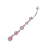 Pink Gem Cz Descending Drop Dangling Belly Rings - TSZjewelry