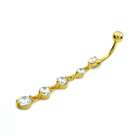 Clear Gem Cz Gold Descending Drop Dangling Belly Rings - TSZjewelry