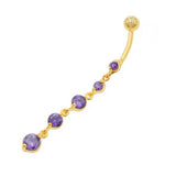 Purple Gem Cz Gold Descending Drop Dangling Belly Rings