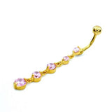 Pink Gem Cz Gold Descending Drop Dangling Belly Rings