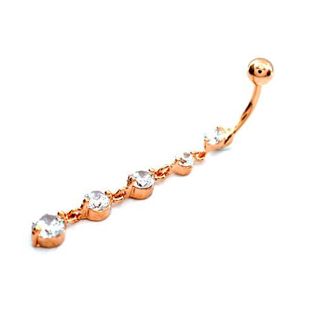 Rose Gold Clear CZ Descending Drop Dangling Belly Rings - TSZjewelry