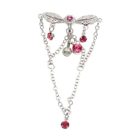 Pink Gem Long Chandelier Top Down Belly Ring